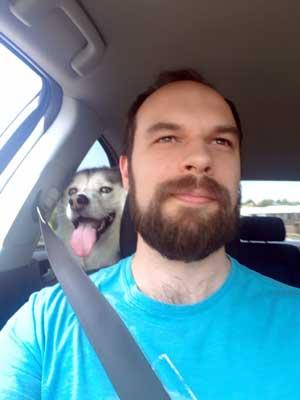Husky in car